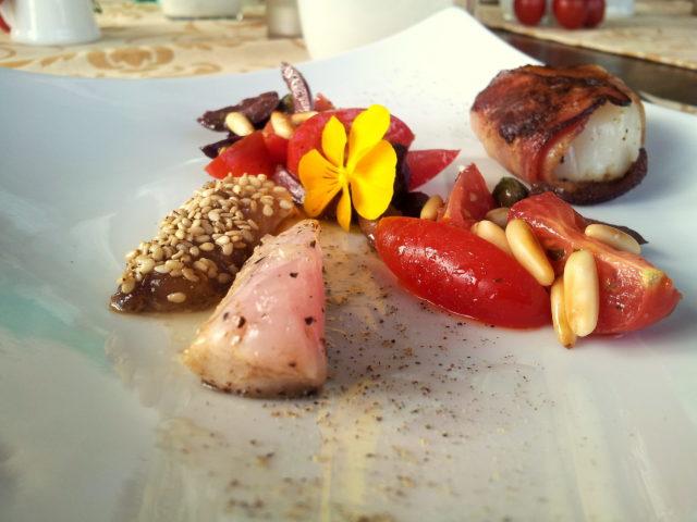 Sushi Makrele, St. Jaques, Bacon